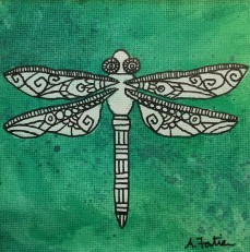 """Dragonfly"", 5 x 5, watercolor and ink on canvas paper, 2013, $100 (Framed)"