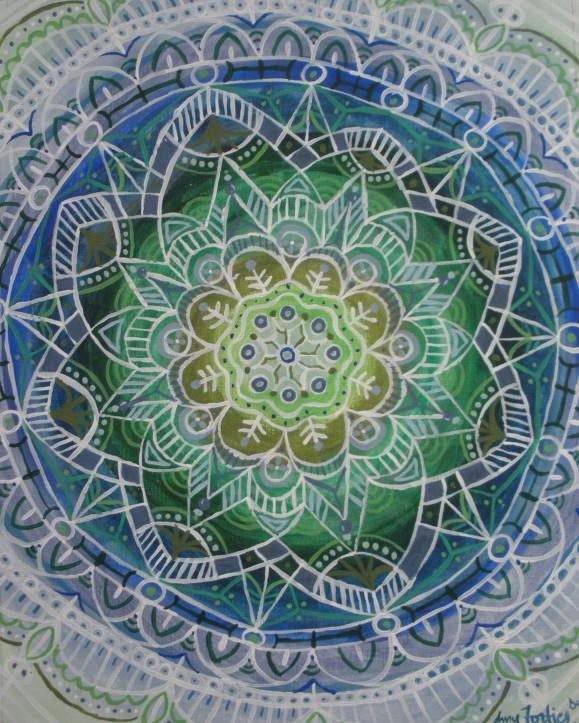 """Winter Mandala"" 11 x 14 on canvas paper, SOLD"