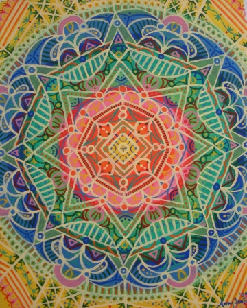 """Summer Mandala"" 11 x 14 on canvas paper, $150 (framed)"