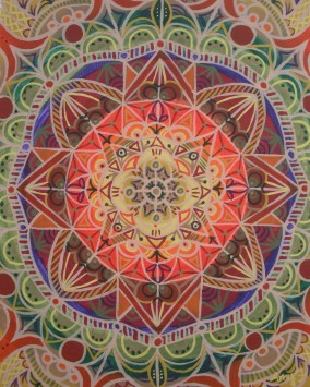 """Fall Mandala"" 11 x 14 acrylic on canvas paper, $150 (framed)"