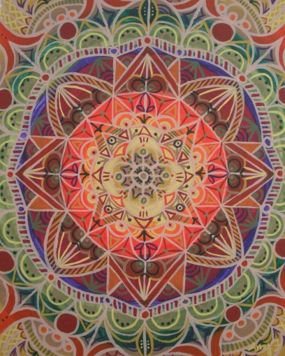 """Fall Mandala"" 11 x 14 acrylic on canvas paper, $150 (framed)"