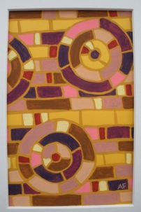 """Moving Mosaic: Yellow"" 4 x 6, acrylic on paper, $20 (includes black frame)"