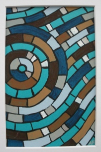"""Moving Mosaic: Brown"" 4 x 6, acrylic on paper, SOLD"