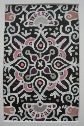 """Mini-Mandala: Black"" 4 x 6, acrylic on paper SOLD"