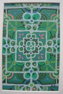 """Mini-Mandala: Green"" 4 x 6, acrylic on paper, $20 (includes black frame)"