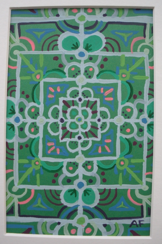"""Mini-Mandala: Green"" 4 x 6, acrylic on paper, $20 (includes black frame)"