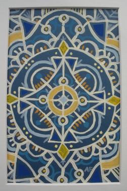 """Mini-Mandala: Blue"" 4 x 6, acrylic on paper SOLD"