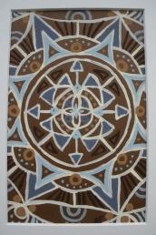 """Mini-Mandala: Brown"" 4 x 6, acrylic on paper, SOLD"