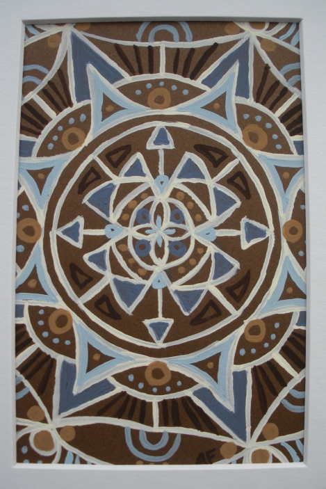 """Mini-Mandala: Brown"" 4 x 6, acrylic on paper, SOLD"