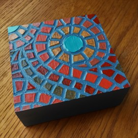 """Fallen Leaves"", 4 x 4"", acrylic medium on wood block, 2016, $40"