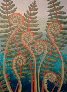 """Fiddleheads"", 18 x 24, acrylic on canvas, 2013, DONATED to Montshire Museum auction"