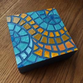 """Goldenrod"", 4 x 4"", acrylic medium on wood block, 2016, $40"