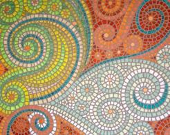 """Copper Faux-saic"" 22 x 28, acrylic on canvas, $250"