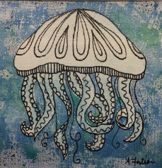 """Jellyfish"", 5 x 5, watercolor and ink on canvas paper, 2013, $100 (Framed)"