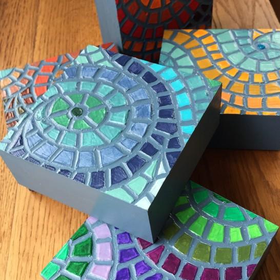 "Acrylic ""Fauxzaics"" - 4 x 4"", acrylic medium on wood block, 2016, $40 each"