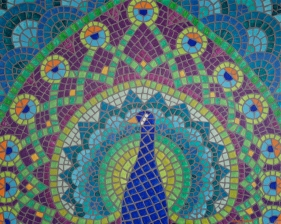 """Peacock Fauxzaic"", 22 x 28, acrylic on canvas, 2012, SOLD"