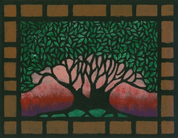 """Pink Sky Tree"", 8.5 x 11, acrylic on paper, 2005, SOLD"