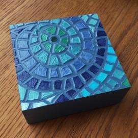 """Seafoam"", 4 x 4"", acrylic medium on wood block, 2016, $40"
