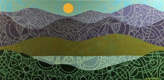 """Summer Mandalascape"",12 x 24, acrylic on canvas, 2016, SOLD"