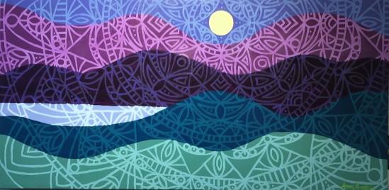 """Twilight Mandalascape"",12 x 24, acrylic on canvas, 2016, $250"