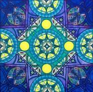 """Blue Moon Mandalascope"", Acrylic on canvas, 24"" x 24"", $400"