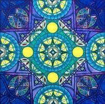 "Blue Moon Mandalascope, Acrylic on canvas, 24"" x 24"""