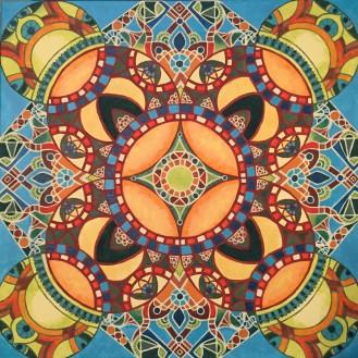 "Calypso Mandalascope, Acrylic on canvas, 24"" x 24"""