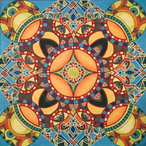 """Calypso Mandalascope"", Acrylic on canvas, 24"" x 24"", $400"
