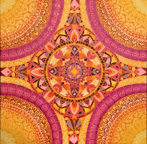 """Sun Salutation Mandalascope"", Acrylic on canvas, 24"" x 24"", $400"