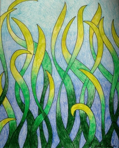 Fathoms Below, 8x10 colored pencil and ink, 2013, $60