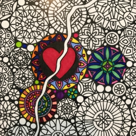 Detail: Coloring in process using Sharpies